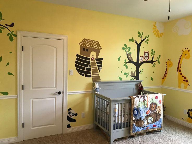 Noah's ark nursery  Gender neutral  yellow and grey