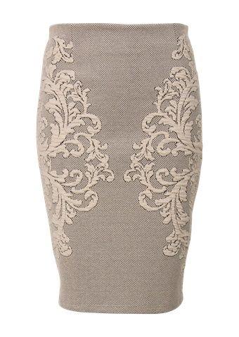 Beige rok met jacquard barokprint aan de zijkanten. De rok heeft geen ritssluiting. Het is een aansluitend model, gemaakt van 50% katoen kwaliteit. Stretch. Knielengte. Lengte in maat 38/M: 56 cm. - See more at: http://www.promiss.nl/rok-print-beige/nl/product/18639/#sthash.SKSSWOom.dpuf