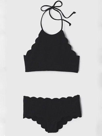 Black Halter Padded Cropped Bikini Set