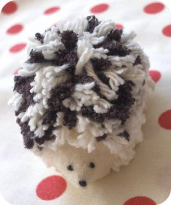 Hedgehog pom pom.  I am SO making one of these...