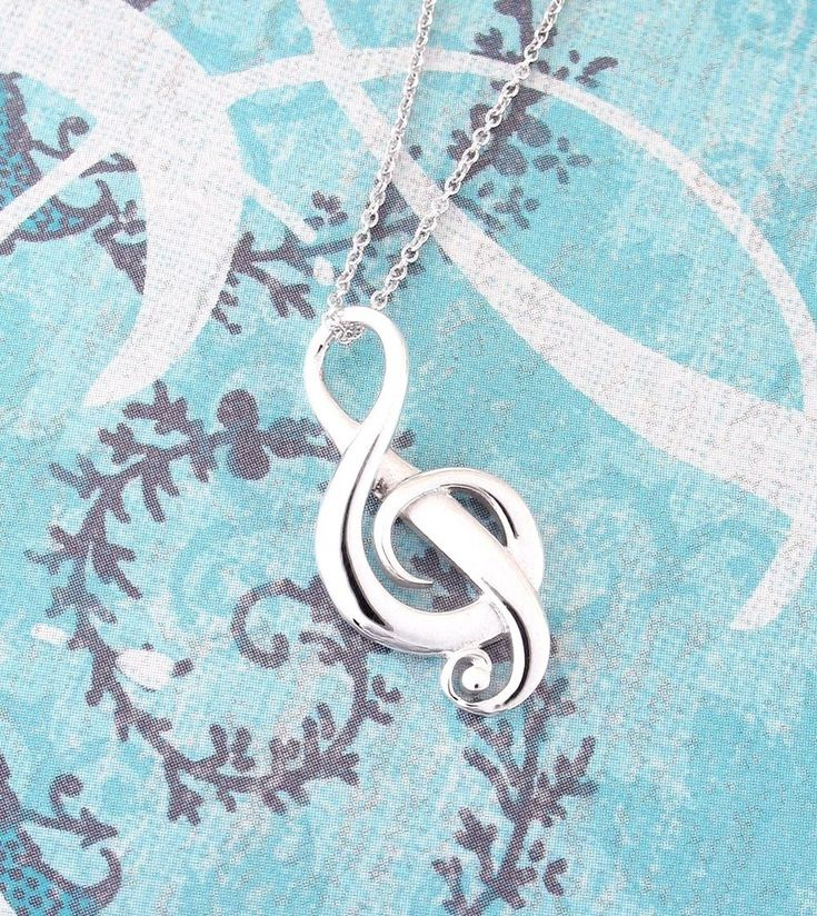 Elegant Treble Clef Necklace in Sterling Silver-Passions > Music Necklaces-woot & hammy