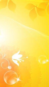 Żółto-pomarańczowa tekstura z listkami i kwiatem