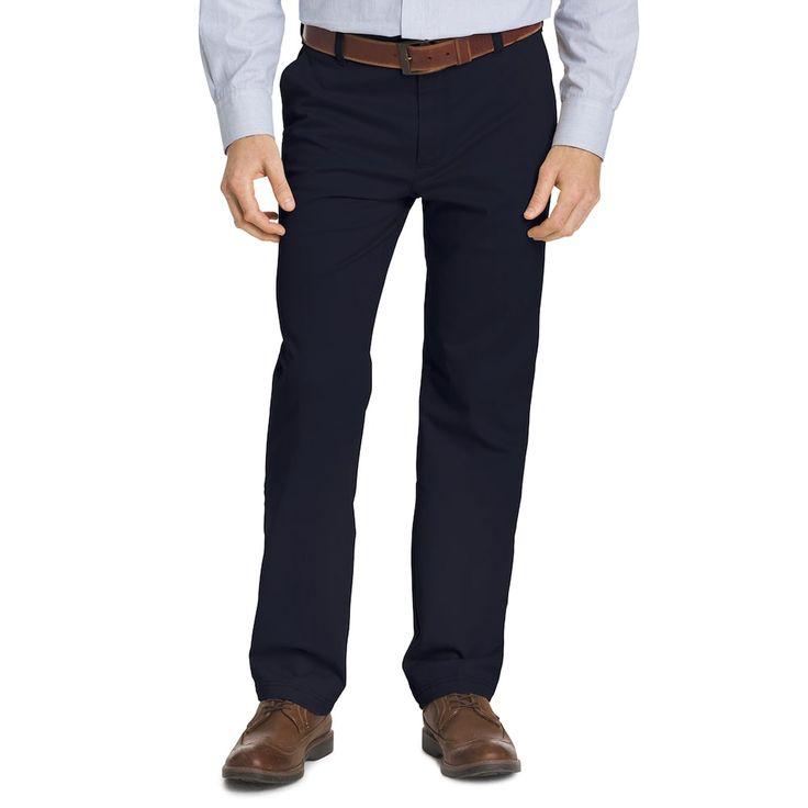 Men's IZOD Classic-Fit Performance Flat-Front Pants, Blue (Navy)