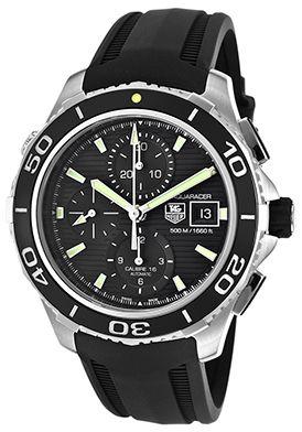 Tag Heuer CAK2111.FT8019 Watches,Men's Aquaracer Automatic Chrono Black Rubber Black Textured Dial, Luxury Tag Heuer Automatic Watches