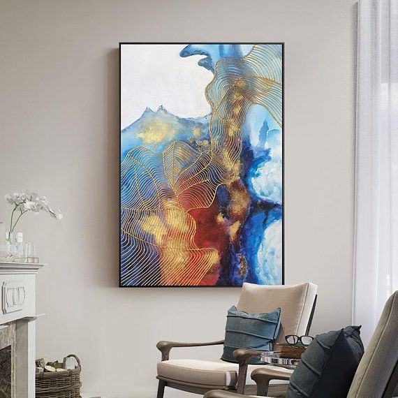 Agate Wall art Mordern Abstract Ocean Acrylic Painting on canvas Extra Large Gold navy Blue Sea Waves Original Cuadros Abstractos Picture
