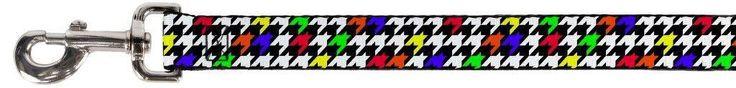 Black White Rainbow Woven Checkered Checker Pattern Fun Animal Pet Dog Cat Leash