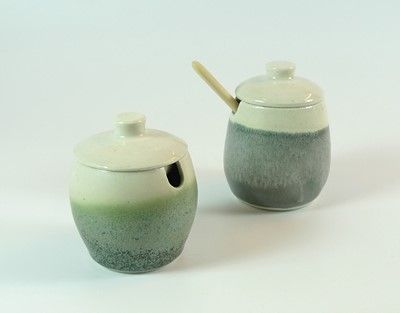 Handthrown ceramic jam-jars.  Marmeladekrukke