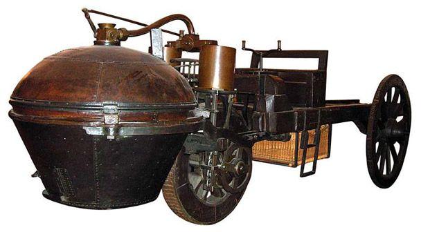 Căpitanul francez de artilerie Nicolas Joseph Cugnota construit în anul1769primul vehicul mecanic auto-propulsat: fardier à vapeur ( caruţă cu abur ). Triciclul realizat de el era acţionat de un motor cu abur şi avea undispozitiv pentru convertirea mişcarii alternative a unui piston ...