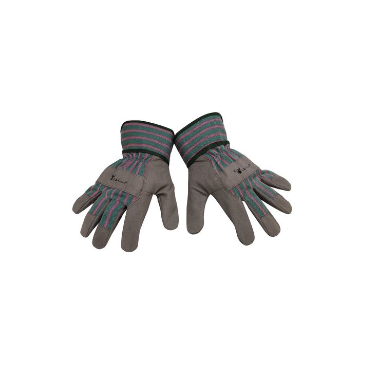 Synthetic Leather Kids Garden Gloves - Gray - G & F