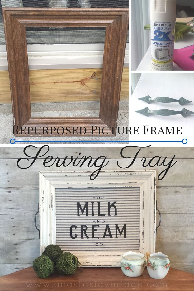 repurposed picture frame serving tray thrift store decor upcycle challenge