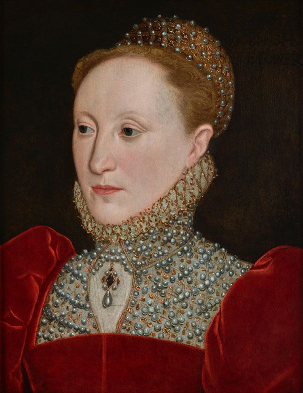 English School, circa 1560s, Elizabeth I of England (1533–1603), Oil on panel: 17 ¾ x 13 ½ in. (45.2 x 34.4 cm.) Painted circa 1560s,Courting Favour at the Weiss Gallery