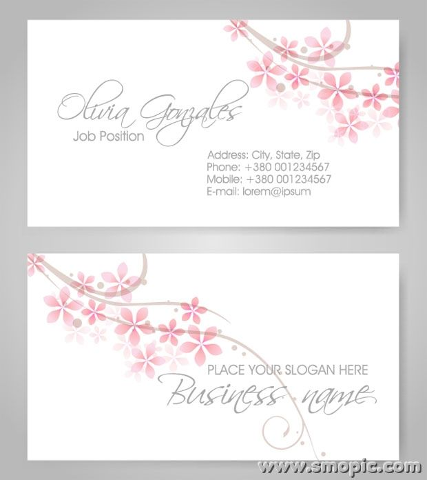 simple fresh petals female theme business card background design template illustrator eps file. Black Bedroom Furniture Sets. Home Design Ideas