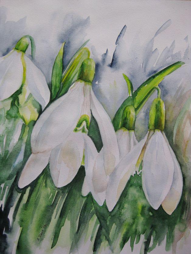 Blumen - Schneeglöckchen - Original Aquarell - 24x32 cm Das Bild ist ein Original Aquarell, auf hochwertigem Aquarellpapier 300 g, mit Schmincke Aquarellfarben gemalt und handsigniert. Sie...