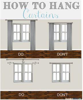 Como pendurar cortinados. Colocar o varão 25cm acima da janela e prolongar 32.5cm para cada lado.