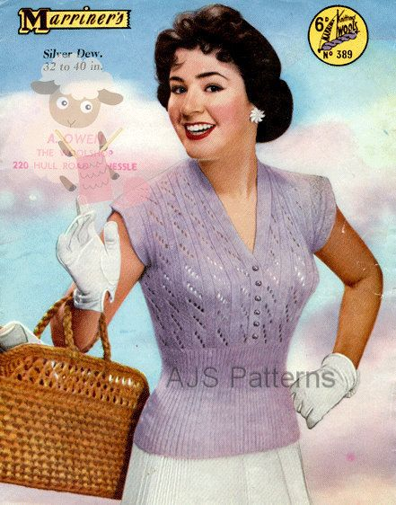PDF Knitting Pattern for a Pretty 1950s Retro Summer Top Jumper Blouse