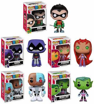 Teen Titans Go! Pop! Television Vinyl Figures by Funko - Robin, Raven, Starfire, Cyborg Beast Boy