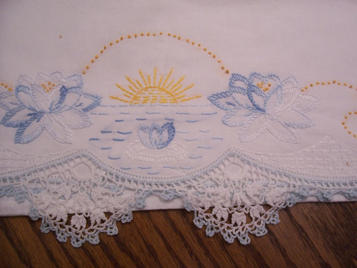 Embroidered PILLOWCASE VINTAGE Crocheted Border Circa 1960s Setting Sun Blues and Yellow & 77 best Pillowcase Embroidery images on Pinterest | Drawings ... pillowsntoast.com