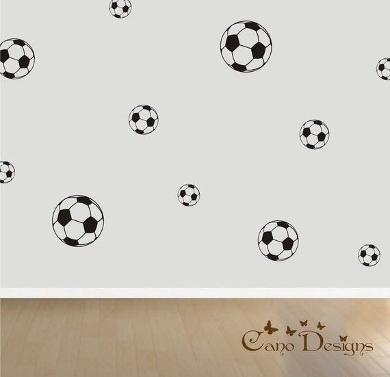 Soccer Ball 18 Set Vinyl decalsnursery kids room by canodesigns, $24.99