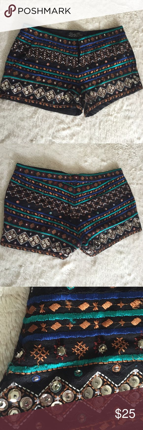 Lucky Brand Shorts Very fun embellished shorts! There are 2 missing gems that are shown in the picture above. Other then that these are in great shape, I've only worn them once! Lucky Brand Shorts