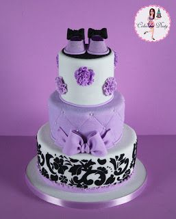 Purple & Damask Baby Shower Cake