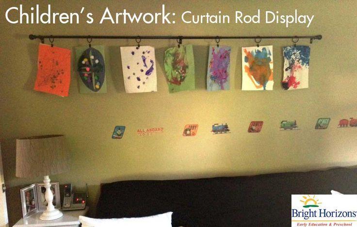 DIY Children's Artwork Display - Curtain Rod in the Toddler Playroom!