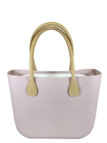 Pink Smoke O Bag with White Canvas Insert and Natural Long Eco Leather Handle