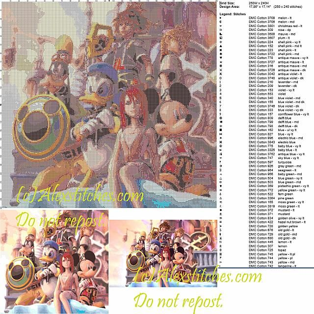 Kingdom Hearts free cross stitch pattern 250x240 100 colors