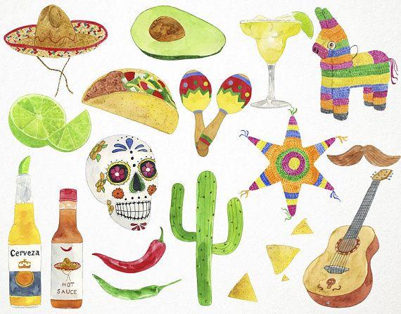 Fiesta Clipart Mexican Clipart Fiesta Clip Art Watercolor