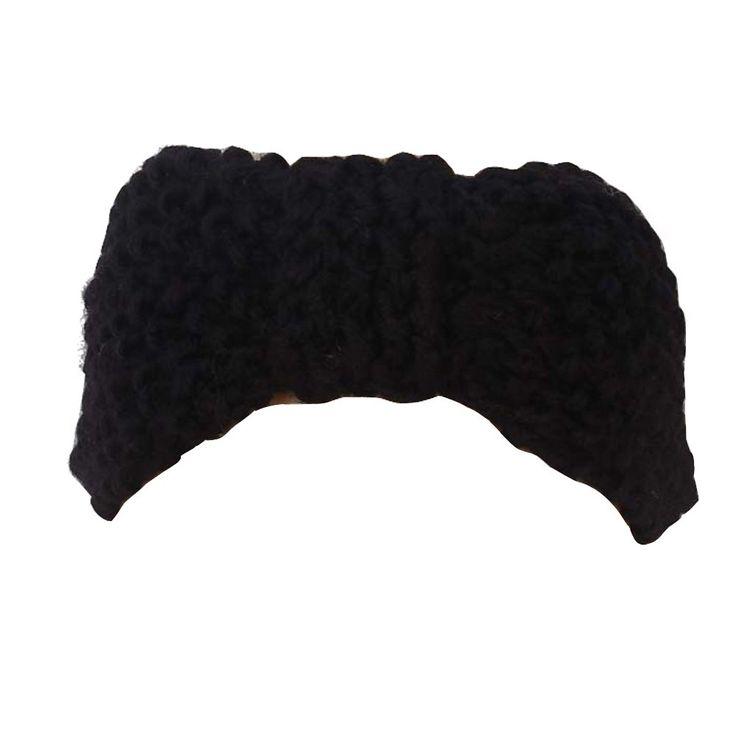Вязание крючком Лук Головная Повязка Для Волос Группа Вязаная Зимняя Шапка