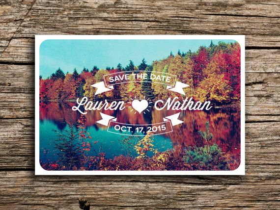 Autumn Lake Reflections Vintage Postcard Save the Date // Fall Trees Rustic Retro Wedding Invitation on Etsy, $35.00