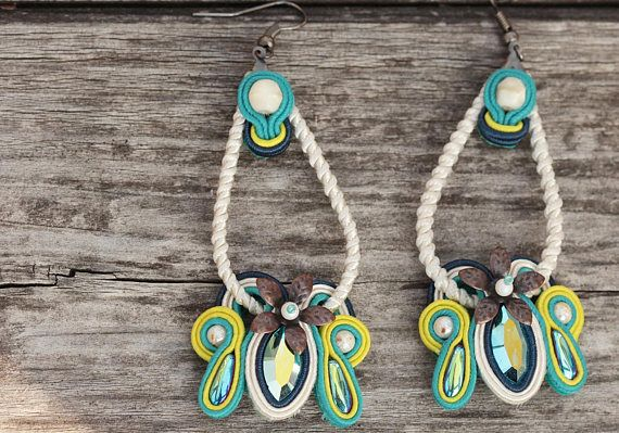 Check out this item in my Etsy shop https://www.etsy.com/listing/572036367/turquoise-soutache-earrings-gift-for-her