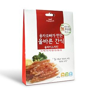 웅자오빠가 만든 올바른 간식 슬라이스치킨 400g 천연원료만을 사용한 고단백, 저지방, 저칼로리 영양간식입니다.  대박할인가격 : 4,830원 (최대7% 적용시)