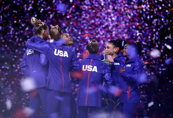 Lauren Hernandez, MyKayla Skinner, Simone Biles, Ragan Smith, Ashton Locklear, Alexandra Raisman, Madison Kocian, and Gabrielle Douglas celebrates after they were selected for the Olympic Team following Day 2 of the 2016 U.S. Women's Gymnastics Olympic Trials at SAP Center on July 10, 2016 in San Jose, California.
