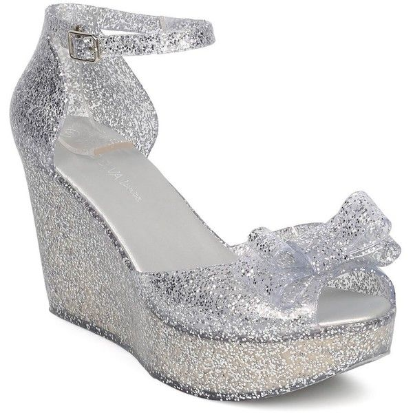 Women Glitter Jelly Bow Tie Wedge Dressy, Casual, Versatile Platform... ($25) ❤ liked on Polyvore featuring shoes, flats, dressy wedge shoes, d'orsay flats, silver dressy shoes, silver flats and silver wedge shoes