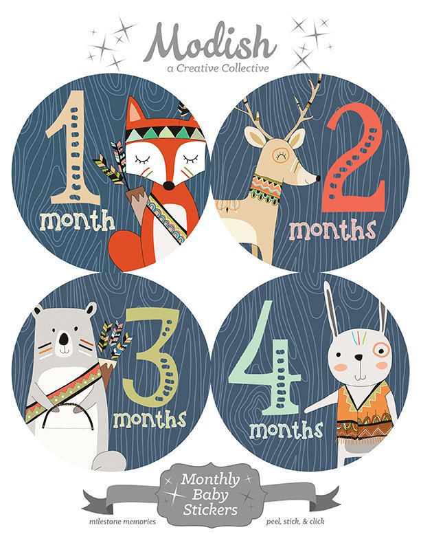 FREE GIFT, Tribal Nursery Decor Boy, Woodland Animals Nursery Decor, Woodland Month Stickers Baby Boy, Fox, Deer, Bear, Bunny, Woodland