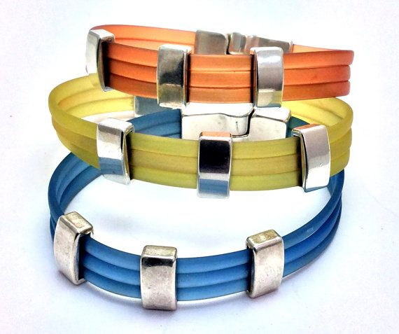 Silicone bracelets, transparent, stackable bracelets, summer jewelry, unisex bracelets, magnetic clasp, coloured jewelry