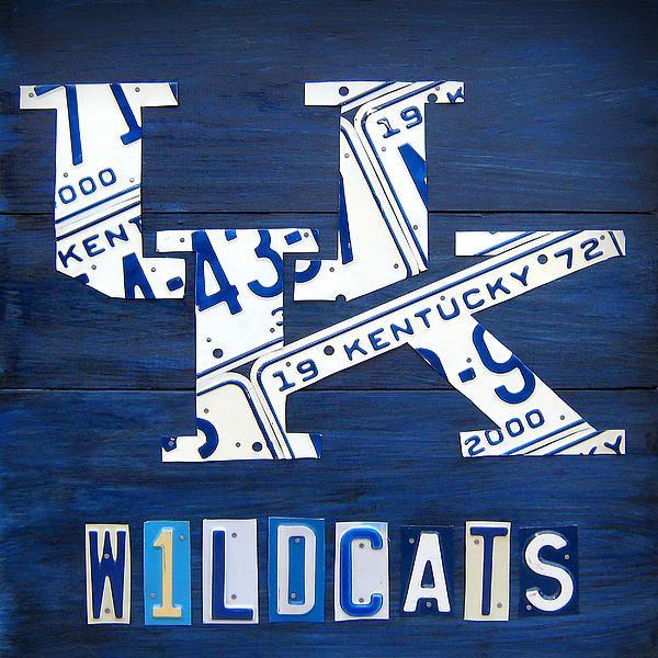 #kentucky #wildcat #basketball license plate art print.