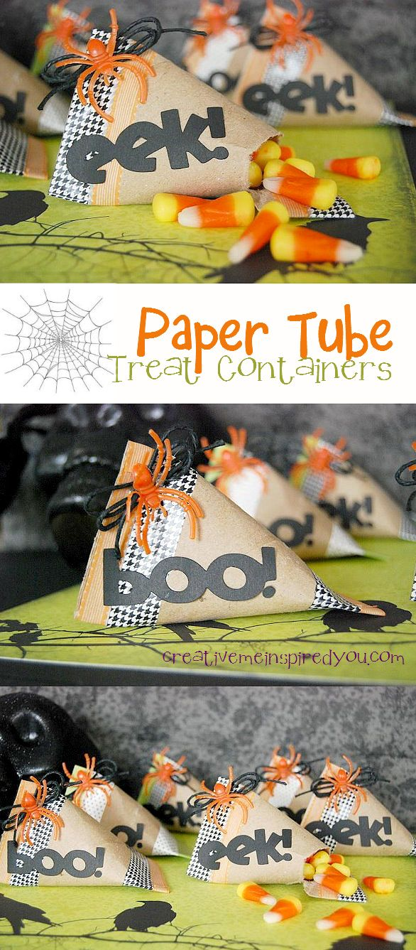 http://creativemeinspiredyou.com/paper-tube-treat-containers/ Love that these are made using recycled materials, and they are so adorable, prefect for school parties!