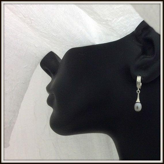OOAK Sterling silver hoops earrings post by LucilleParenteau