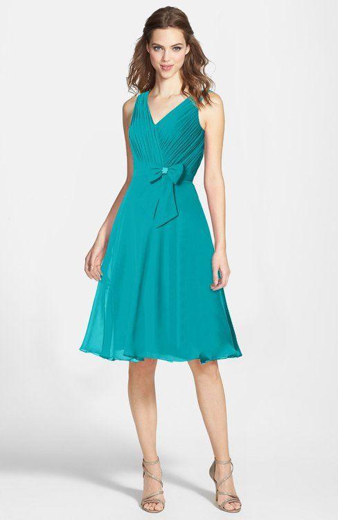d934fb2753 ColsBM Elsie Teal Zipper Chiffon Knee Length Bow Bridesmaid Dresses ...
