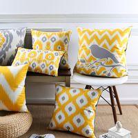Oreiller Jaune géométrique animal oiseau Treillis taie d'oreiller pour Voiture bureau lombaire oreiller accueil décorer canapé coussins