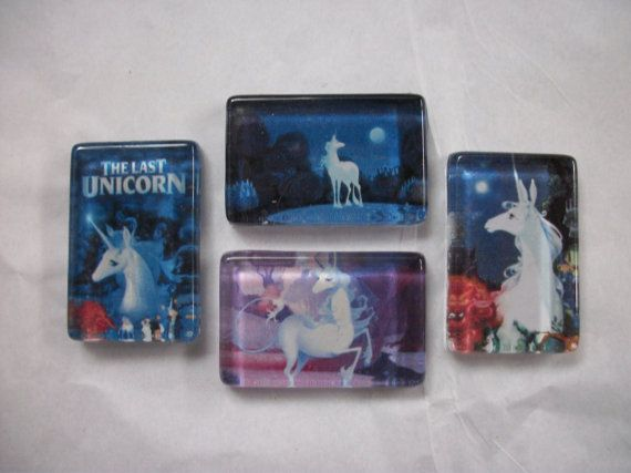 4 The Last Unicorn Magnet Set One of a Kind Set by BadCatCraft