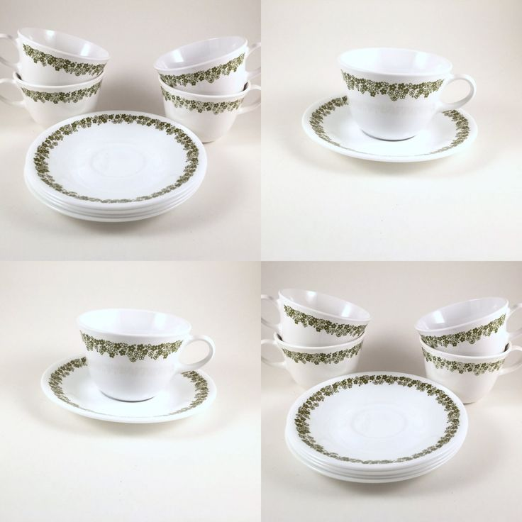 VIntage Corelle Cups & Saucers, Spring Blossom, Crazy Daisy, Green and White Coffee Cups with Saucers by BarnabyGlenVintage on Etsy