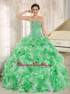 Green Beaded Bodice and Ruffles Custom Made For 2013 Quinceanera Dress