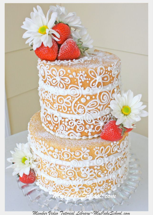 "This elegant, ""semi dressed"" cake is a twist on the popular rustic naked cake! From MyCakeSchool.com's member video tutorial library."