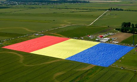 The largest flag in the world is Romanian. This is from 14 hours ago. An aerial picture shows the huge flag on the Clinceni airfield, south of Bucharest. Photograph: Bogdan Criste.