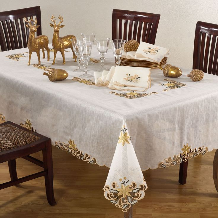 Saro Embroidery & Cutwork Tablecloth (Ecru, 120 inches long x 65 inches wide), Brown, Size 120 x 65 (Polyester, Embroidered)