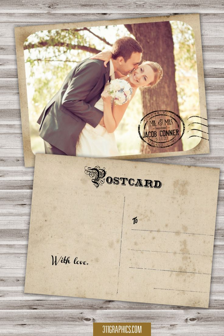 how to write thank you notes for wedding gift cards%0A Vintage Wedding Postcard Thank You Card  vintage  wedding  thank you card