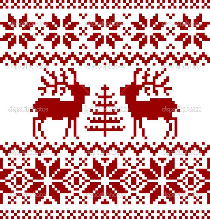 Коллекция рождественских норвежским узором, изолированные на белом фоне