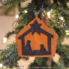 Today I am sharing a simple felt nativity ornament with you, including a free template. In my book, if I'm going to decorate for Christmas, it is going to be with the Nativity. I have loads of nativity sets (including this one that I made from felt and have the pattern available in my etsy ...